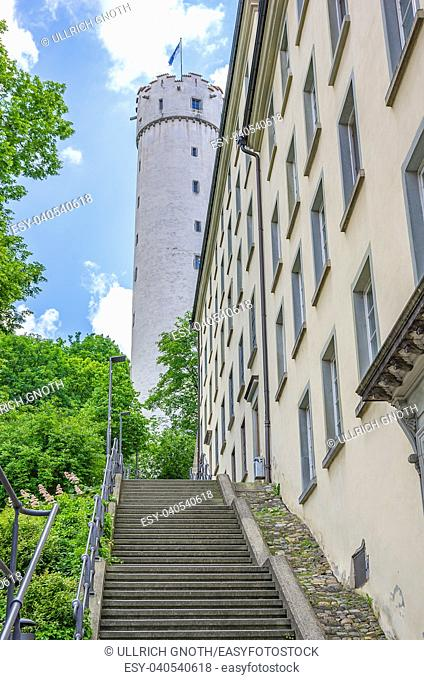 Ravensburg, Baden-Wurttemberg, Upper Swabia, Germany - stairs up to Mehlsack Tower
