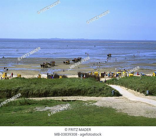 Germany, Lower Saxony, Sahlenburg,  Island Neuwerk, beach, swimmers,  Horse carriages,  Northern Germany, North sea, North sea bath, sea resort, beach, tourists