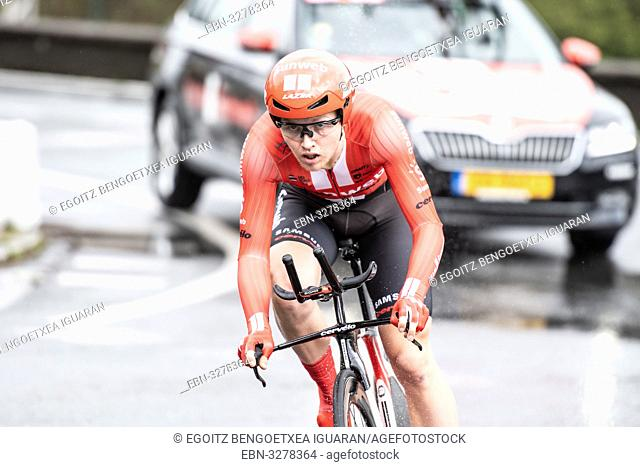 Michael Storer at Zumarraga, at the first stage of Itzulia, Basque Country Tour. Cycling Time Trial race