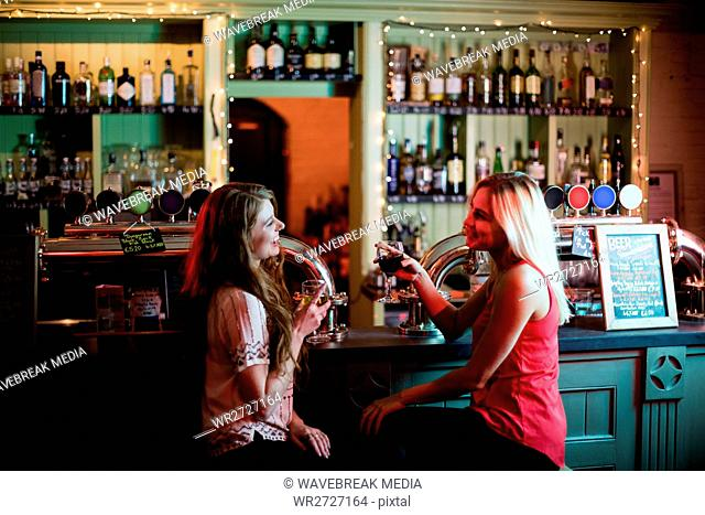 Women interacting while having a glasses of wine at counter