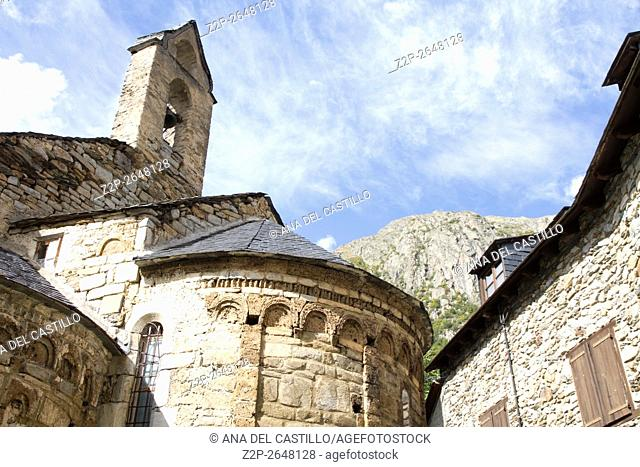 Typical stone church in Unha village, Valle de Aran, Lleida, Catalonia, Spain