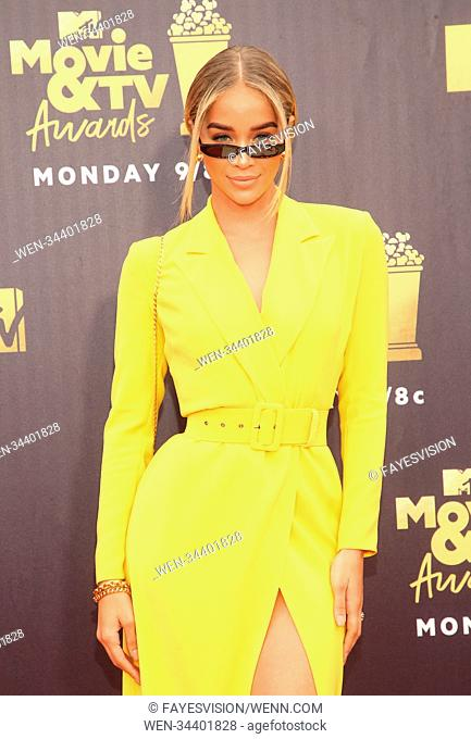 2018 MTV Movie And TV Awards Featuring: Jasmine Sanders Where: Santa Monica, California, United States When: 16 Jun 2018 Credit: FayesVision/WENN.com