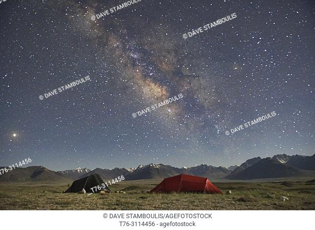 Milky Way over the Great Pamir Range of Afghanistan from our camp at Lake Zorkul, Tajikistan