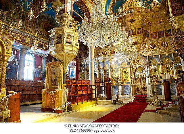 The unusual Baroque interior of the Greek Orthodox Metropolitan Cathedral of the Metamorphosis, Ermoupolis, Syros Island  S  , Greek Cyclades Islands