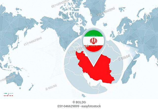 World map centered on America with magnified Iran. Blue flag and map of Iran. Abstract vector illustration