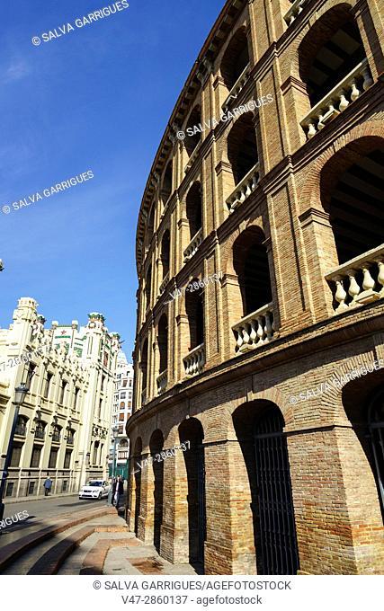 Facade of the bullring in Valencia, Spain, Europe