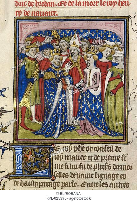 Marriage of King Philip III of France to Mary of Brabant, Miniature Marriage of King Philip III of France to Mary of Brabant in 1274