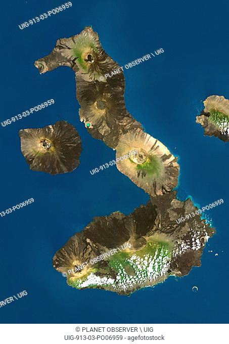 Satellite view of Isabela and Fernandina Islands, Galapagos Islands. This image was compiled from data acquired by Landsat satellites