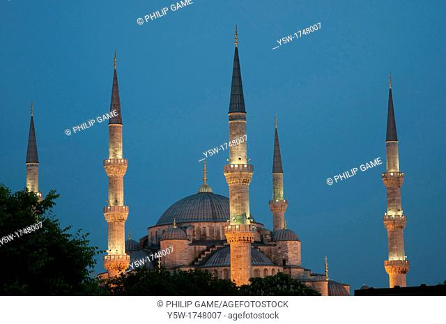 Istanbul's Blue Mosque, illuminated on a summer evening