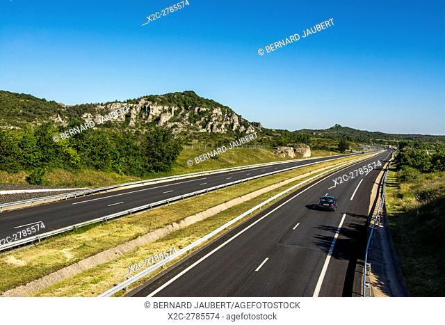 Highway A75 On Larzac Plateau Aveyron France Europe