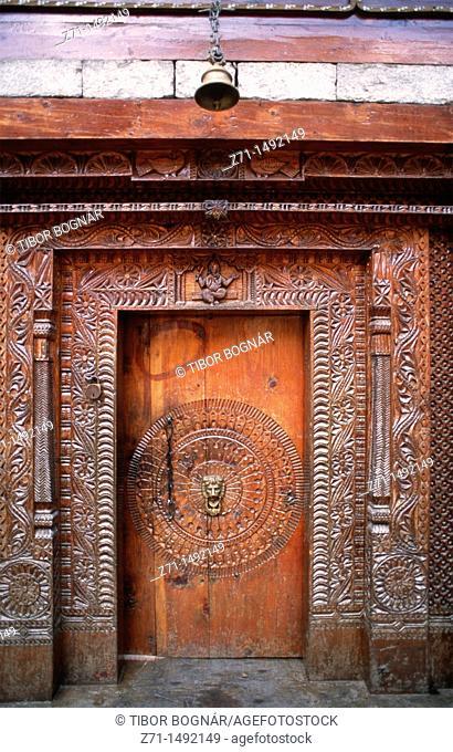 India, Himachal Pradesh, Washisht, carved door
