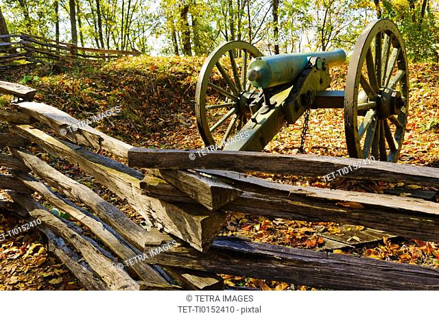 USA, Georgia, Kennesaw, Cannon at Kennesaw Battlefield Park