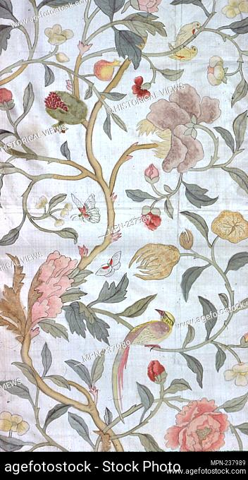 Panel (Furnishing Fabric) - 18th century - France - Origin: France, Date: 1701-1800, Medium: Silk, plain weave; painted; two panels pieced, Dimensions: 130 × 85