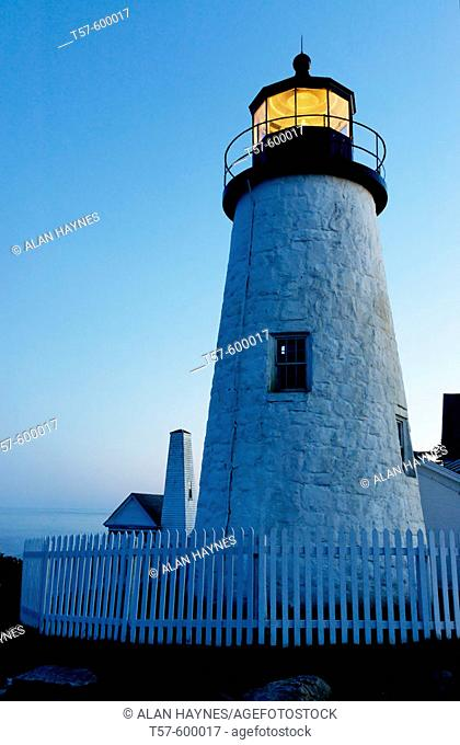 Twilight, Pemaquid Point Lighthouse, Bristol, Maine, USA