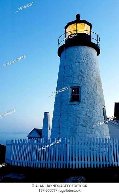 Twilight, Pemaquid Point Lighthouse, Bristol, Maine, USA