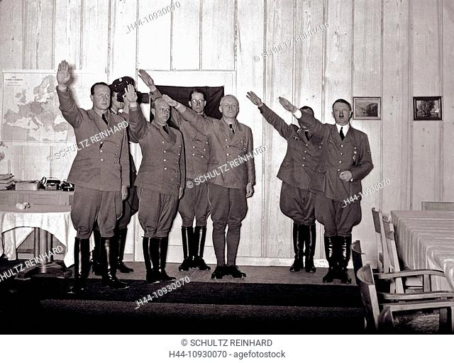 Adolf Hitler, visitors, Berghof, presenting, Nazi, Hitler, salute, Heil Hitler, Fuehrer, Berchtesgaden, Germany, 1942, World War II