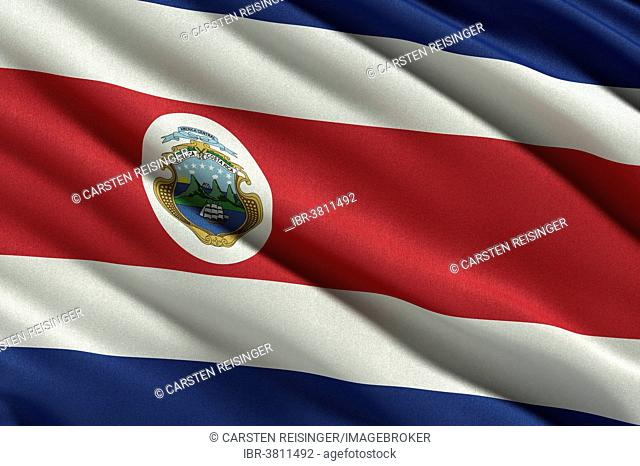 Flag of Costa Rica waving in the wind