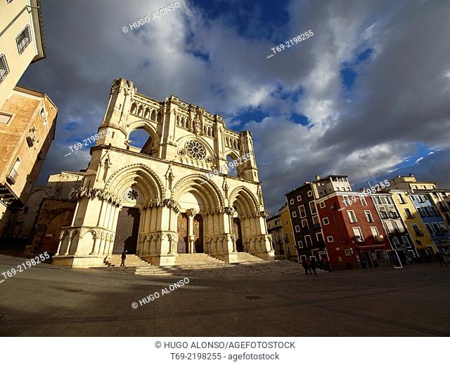 View of the facade of the cathedral of Santa Maria and San Juan Julian at sunset. Cuenca. Spain