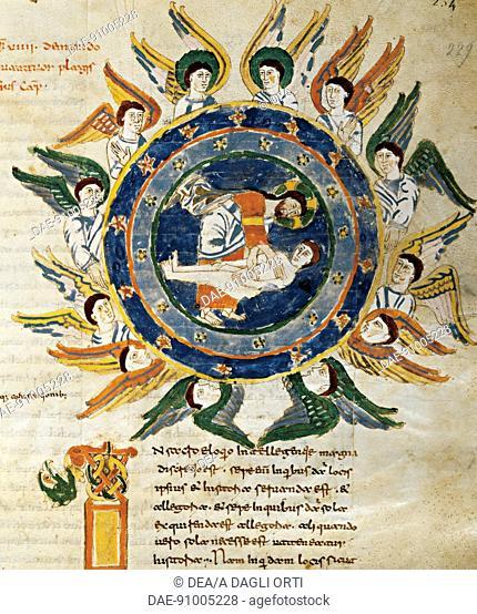The creation of man, miniature from De universo by Rabano Mauro, manuscript, Italy 11th Century.  Montecassino, Biblioteca Statale Del Monumento Nazionale Di...