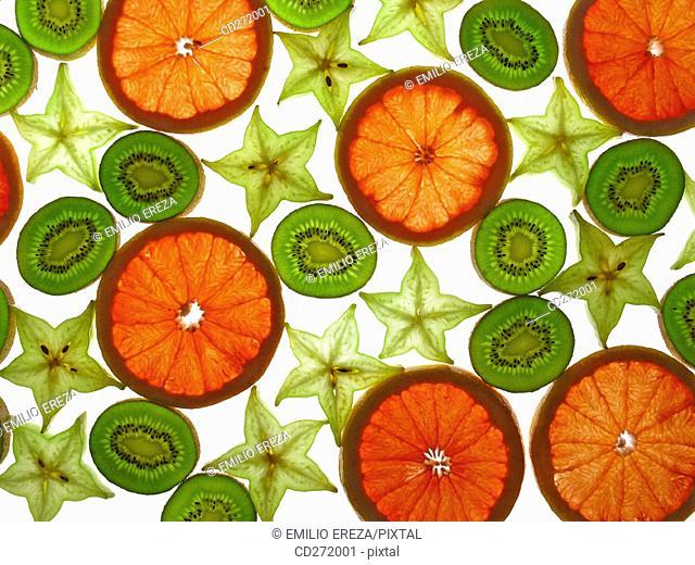Tropical fruits: grapefruit, kiwi and starfruit