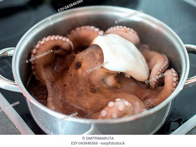 Preparation of an octopus in a pan