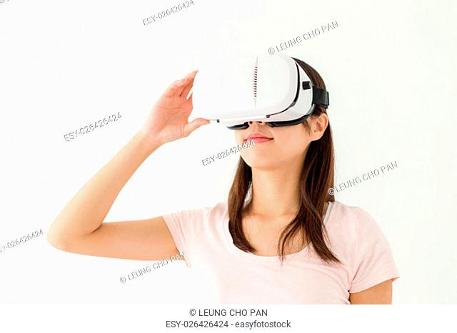 Woman watch though VR device