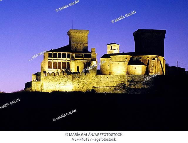 Night view of Monterrey castle, Verin. Orense province, Galicia, Spain