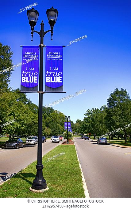 Banners hanging from the street lights on Old Main Cir on the Middle Tennessee State University campus in Murfreesboro TN, USA