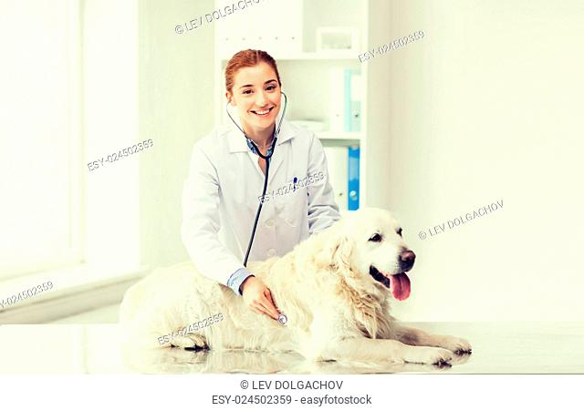medicine, pet, animals, health care and people concept - happy veterinarian or doctor with stethoscope checking up golden retriever dog at vet clinic