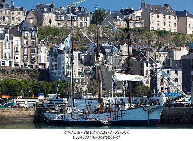 France, Normandy Region, Manche Department, Granville, port view with La Marite sailing ship
