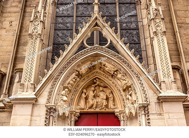 Biblical Statues Little Red Door Notre Dame Cathedral Paris France. Notre Dame was built between 1163 and 1250AD