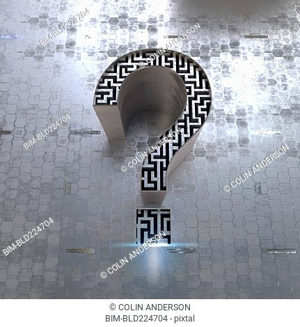 Maze inside three dimensional question mark symbol