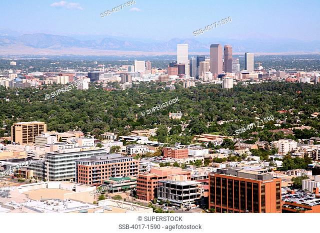Aerial of the Cherry Creek District of Denver with downtown in background