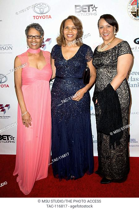Fabian Wesson, Tracy Underwood and Lisa Cagnolatti attend YWCA Greater Los Angeles 2015 Rhapsody Gala: Imagine. The World is Yours at Beverly Wilshire Hotel on...