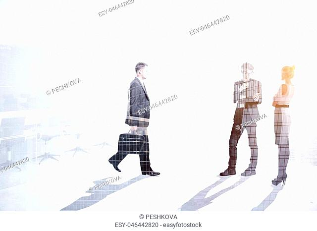 Teamwork, meeting and development concept. Businesspeople crowd silhouettes on light city office background. Double exposure