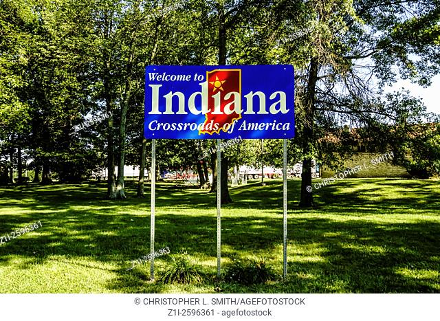 Welcome to Indiana State Sign - The Crossroads of America
