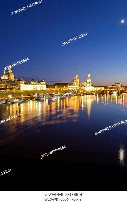 Germany, Dresden, Skyline at night