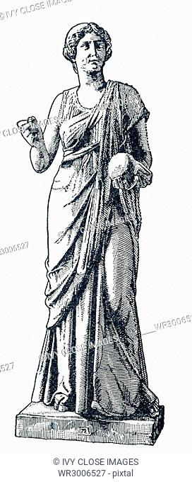 This illustration of a statue of Urania dates to 1898. The statue is in a Berlin museum. Urania was the Muse of astronomy