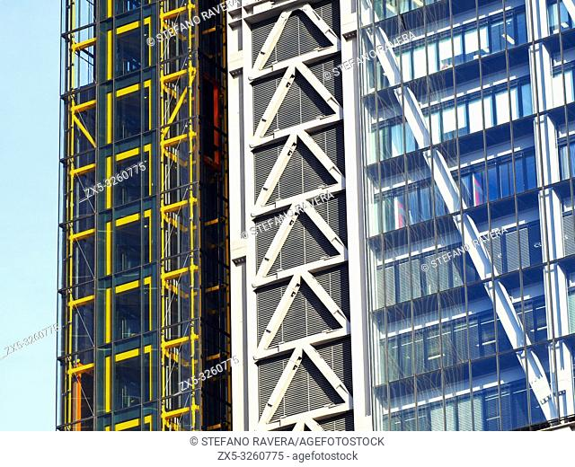 Close up of modern buildings in the City of London - England