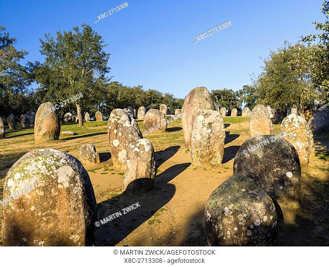 Almendres Cromlech (Cromeleque dos Almendres), an oval stone circle dating back to the late neolithic or early Copper Age