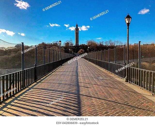 View along the High Bridge (originally the Aqueduct Bridge) is the oldest bridge in New York City between Harlem, Manhattan and the Bronx