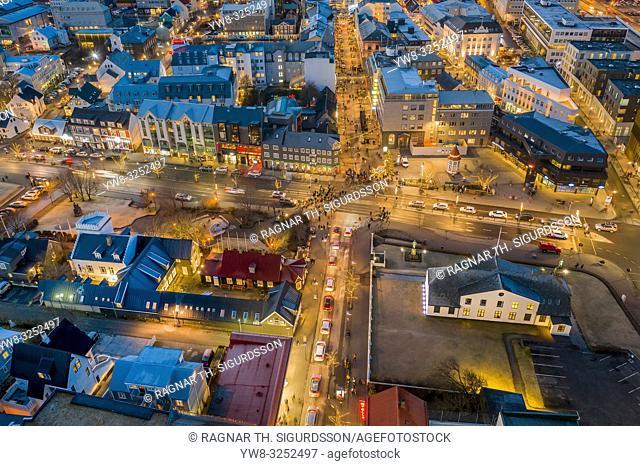 Reykjavik at twilight, Christmas time, Iceland