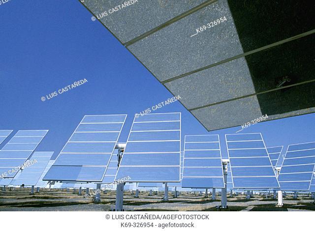 Heliostats at CESA 1 solar power plant. Almeria province, Spain