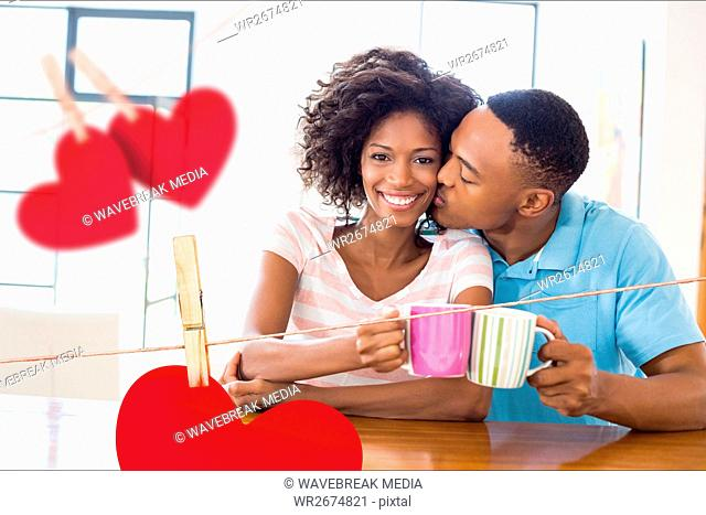 Romantic couple holding coffee mug