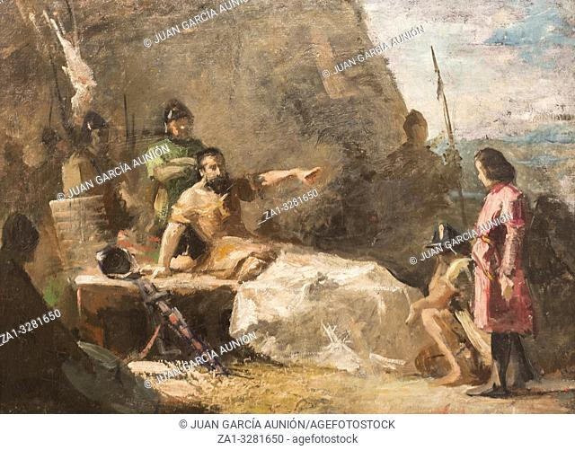 Montilla, Spain - March 2nd, 2019: El Cid wounded pact with Count of Barcelona after Battle of Tevar by Jose Garnelo Alda