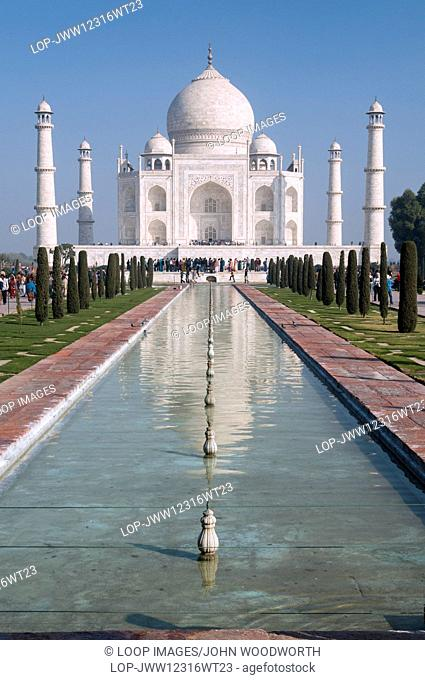 View of the Taj Mahal reflected in a pool
