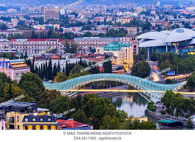 Overview over Tbilisi at dawn, Georgia, Caucasus, Middle East, Asia