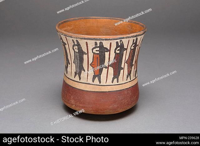 Cup Depicting a Band of Abstract Fish - 180 B.C./A.D. 500 - Nazca South coast, Peru - Artist: Nazca, Origin: Peru, Date: 180 BC–500 AD