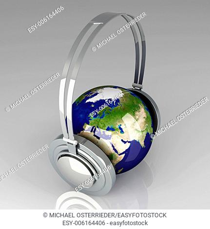 The music of Asia. Headphones and a world globe. 3D rendered Illustration