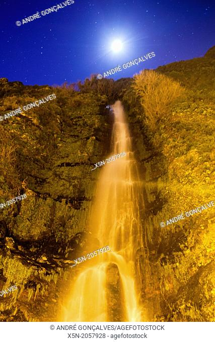 Waterfal at night during the full moon, Madeira, Portugal, Europe